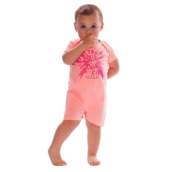 Cowgirl Tuff Western Shirt Girls Infant S/S Romper Watermelon