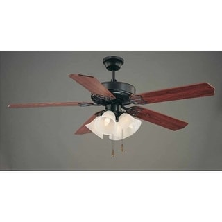 "Volume Lighting V6174 5 Blade 52"" Indoor Ceiling Fan with Alabaster Glass Bell S"