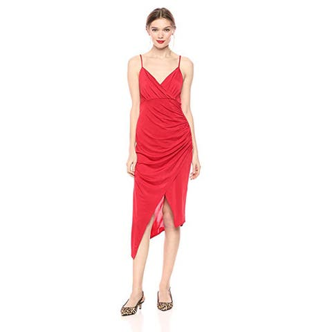 bebe Women's Surplus Cami Dress with-Assymetric Hem and Side Rusch, Red, 12