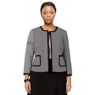 Nine West Knit Jacquard Open Front Blazer Jacket