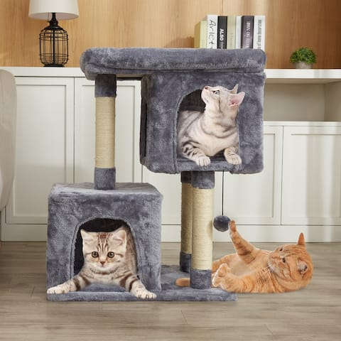 CO-Z Cat Tree Tower with 2 Plush Cat Condos for Multiple Large Cats