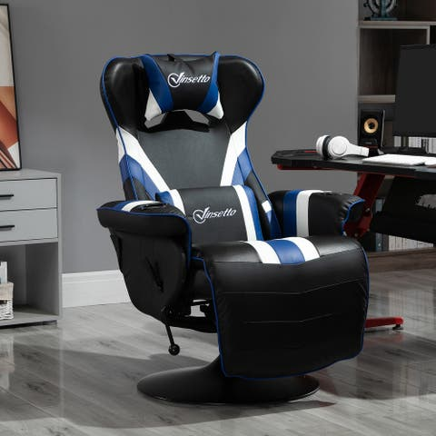 Vinsetto Race Video Game Chair with Reclining Backrest and Footrest, Headrest, and Cup Holder