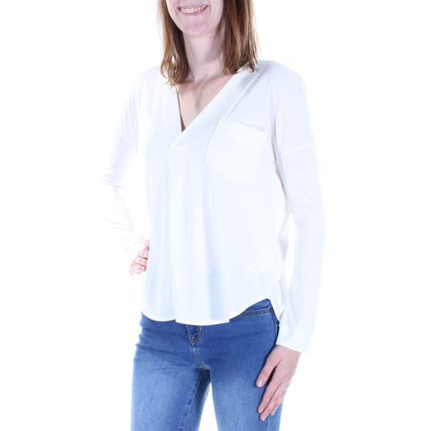 KIIND OF Womens Ivory Long Sleeve V Neck Top Size: XS