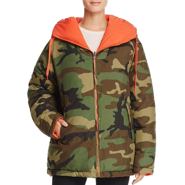 40405dc57ffe6 Shop Kendall + Kylie Reversible Camouflage Down Jacket Coat Camo/Orange - M  - Free Shipping Today - Overstock - 24083758