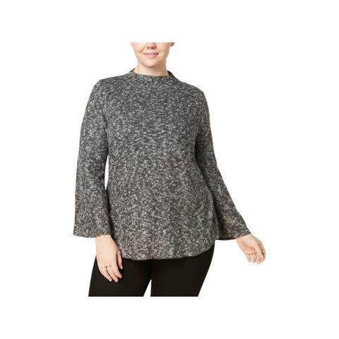 Derek Heart Womens Plus Pullover Sweater Bell Sleeves Heathered