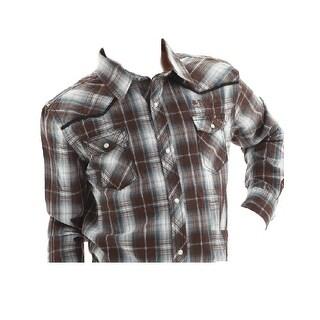 B. Tuff Western Shirt Boys Long Sleeve Plaid Brown Navy White F00163 - L