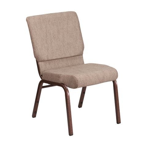 Offex 18.5''W Stacking Church Chair in Beige Fabric - CopperVein Frame