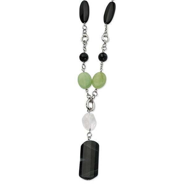 Chisel Stainless Steel Black Agate & Quartz 26 with 1.5 Inch Extension Necklace (16 mm) - 26 in