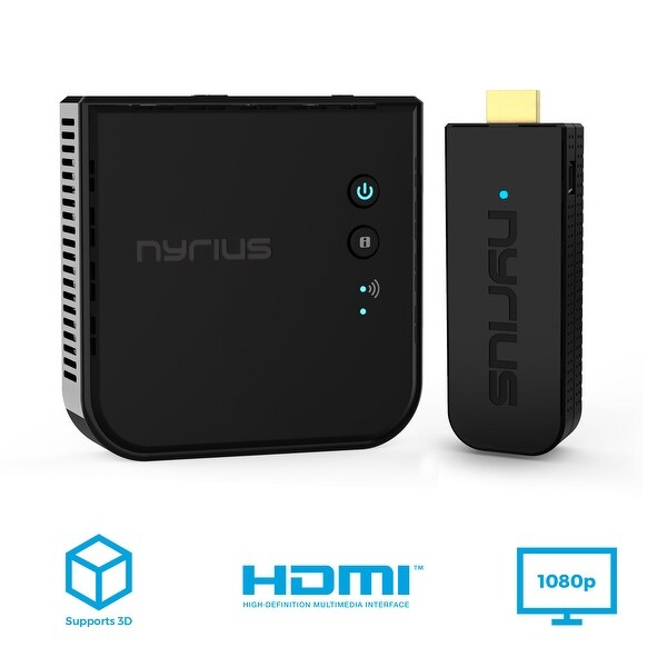 Nyrius ARIES Pro Wireless HDMI Transmitter & Receiver to Stream HD 1080p 3D Video From Laptop to HDTV/Projector