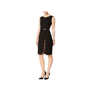 Connected Apparel Womens Petites Cocktail Dress Sleeveless Knee-Length