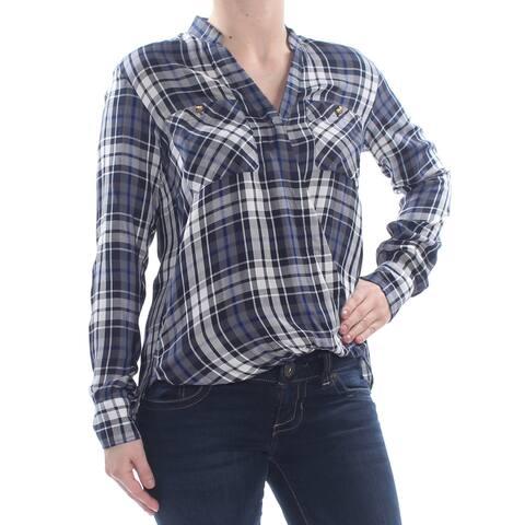 RALPH LAUREN Womens Navy Plaid Long Sleeve V Neck Wrap Top Plus Size: XL