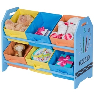 Gymax Kid's Toy Storage Multi-Color Organizer with 6 Bins for Kids Bedroom Playroom