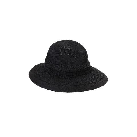 Collection Xiix Black Textured Expansion Panama Hat OS