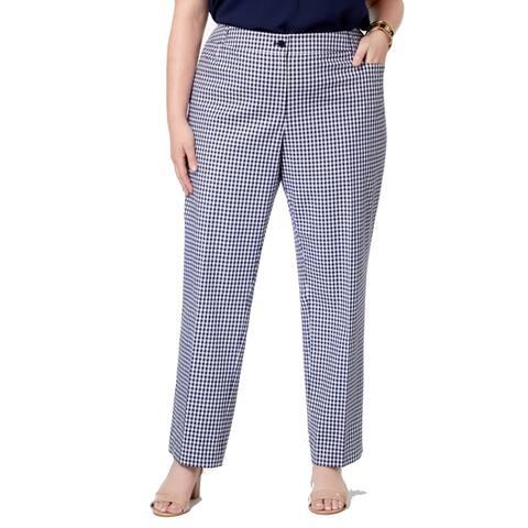 Anne Klein Womens Pants Blue White Size 14W Plus Gingham Print Stretch