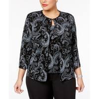 Alex Evenings Black Womens Size 3X Plus Shimmer Jacket Twinset