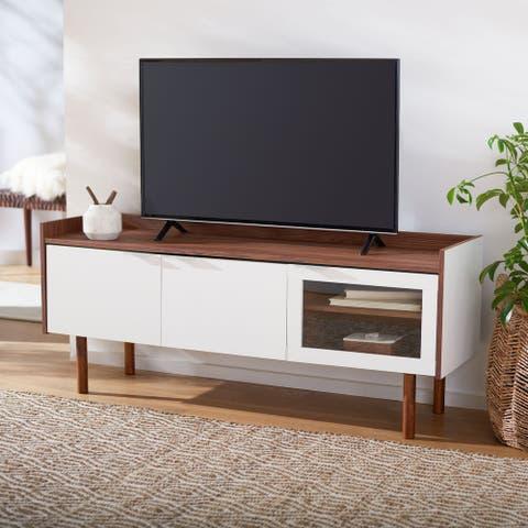 "SAFAVIEH Safiya Walnut 55-inch Storage Media TV Stand - 55.1"" W x 15.7"" L x 22.7"" H"