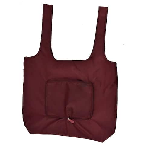 Home Nylon Rectangle Shaped Shoulder Hand Carrier Foldable Shopping Bag Burgundy