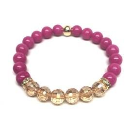 Fuchsia Jade & Champagne Crystal 'Glow' stretch bracelet 14k Over Sterling Silver