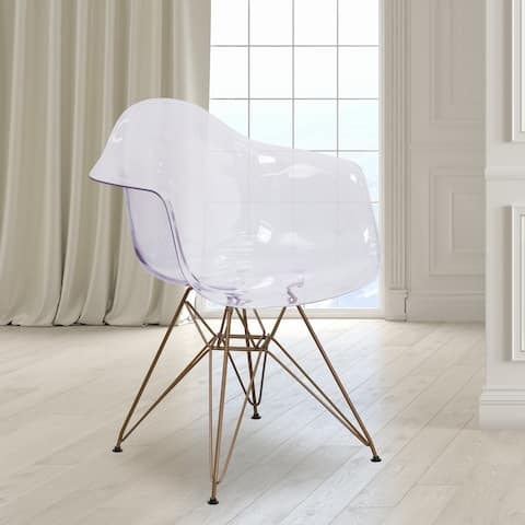 Transparent Side Chair with Arms and Gold Base - Accent & Side Chair
