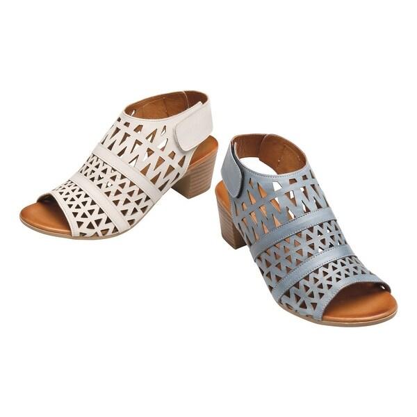 "Spring Step Women's Sandals - Geo Art Leather Upper, 1 1/2"" Block Heel Shoes"