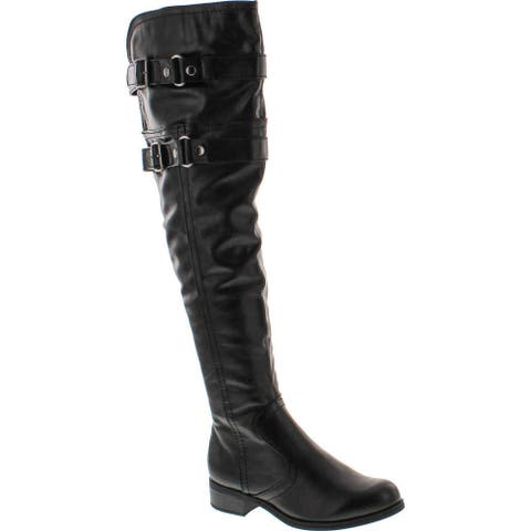 Soda Ride-H Leatherette Over The Knee Thigh High Boots - Black