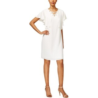 MSK Womens Casual Dress Lace Up Flutter Sleeves