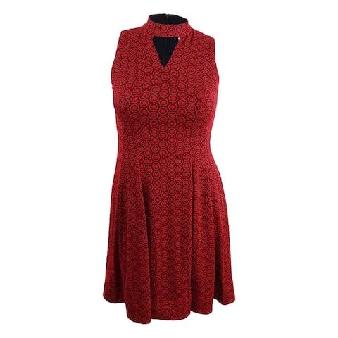 Robbie Bee Women's Petite Choker Fit & Flare Dress