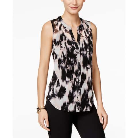 INC Petite Women's Printed Pintucked Shirt, Ghost Bouquet, PS