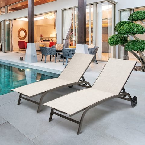 """Adjustable Chaise Lounge Chair Outdoor Recliner with Wheels (Set of 2) - 74.80"""" L x 24.80"""" W x 13.78"""" H"""
