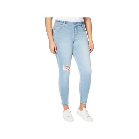 Celebrity Pink Womens Plus Skinny Jeans Denim Light Wash