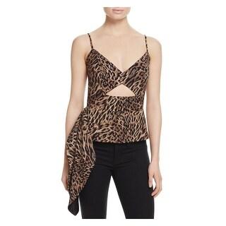 Mason by Michelle Mason Womens Bra-Top Cheetah Print Cut Out Front