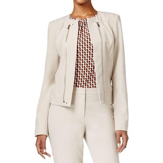 Calvin Klein Womens Petites Collarless Blazer Zipper Detail Open Front