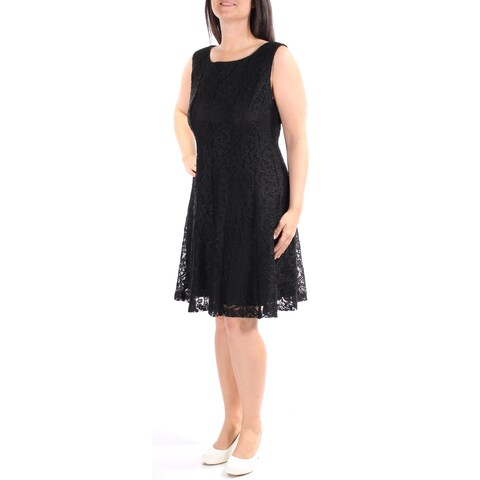CONNECTED Womens Black Lace Sleeveless Jewel Neck Knee Length A-Line Dress Size: 14