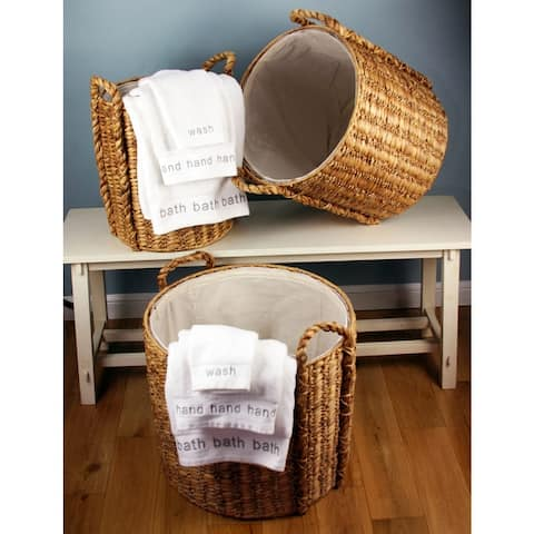 Water Hyacinth Laundry Baskets w/Liners Set of Three