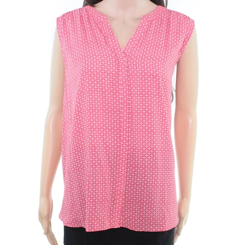 NYDJ Women's Blouse Large Button Up Dotted Pleated Back