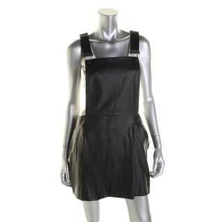 Material Girl Womens Juniors Pleather Criss-Cross Back Overall Dress - L