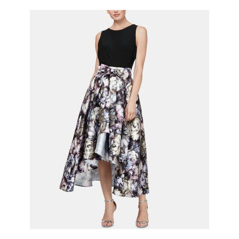 SLNY Womens Black Floral Sleeveless Midi Hi-Lo Formal Dress Size 16