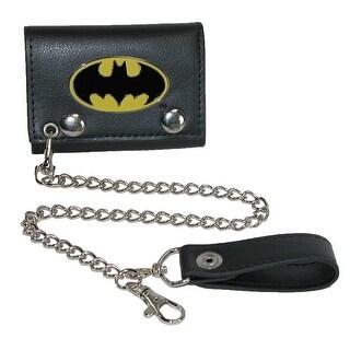 BioWorld Men's DC Comics Batman Trifold Chain Wallet - Black - One size