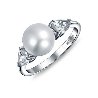 Bling Jewelry 925 Sterling Silver Freshwater Cultured Pearl CZ Teardrop Ring - White