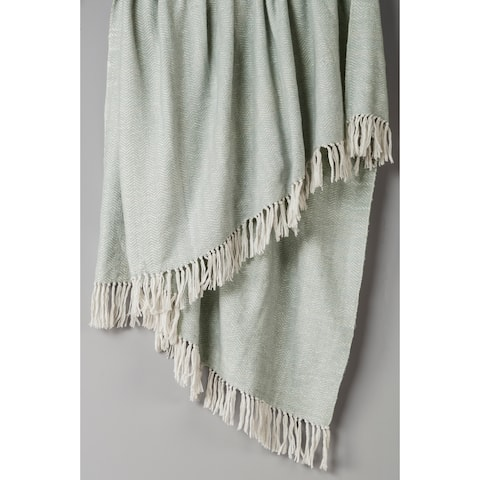 "Rizzy Home Silver Woven 50""x60"" Throw"