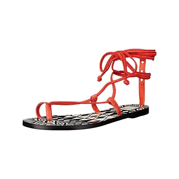 Dolce Vita Womens Chandler Flat Sandals Leather Printed