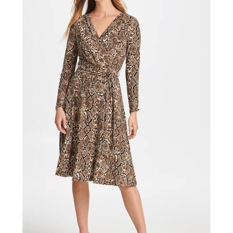 DKNY Womens A-Line Dress Brown Size 4 Snake-Print Faux-Wrap Jersey