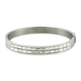 Womens Stainless Steel Oval Bangle Bracelet with Baguette Shaped Cubic Zirconias (7mm Wide)