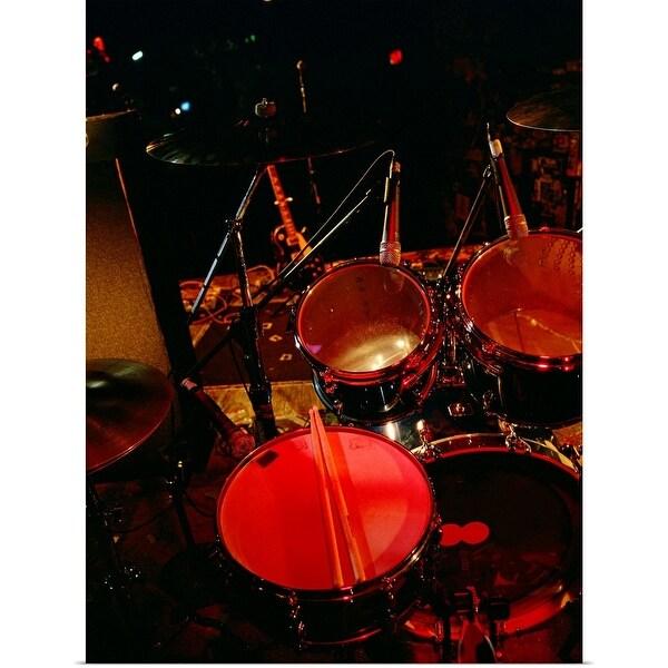 """Drum set on stage"" Poster Print"