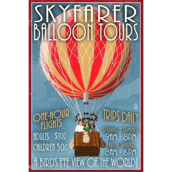 Hot Air Balloon Tours - Vintage Sign - LP Artwork (Acrylic Wall Clock)