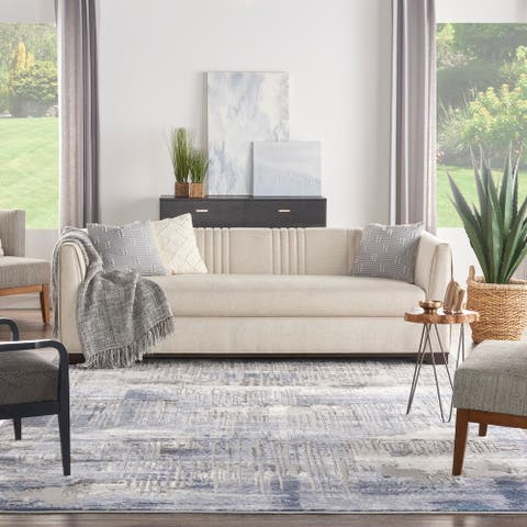 Kathy Ireland Grand Expressions Modern Blue Grey Abstract Area Rug