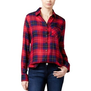 Polly & Esther Womens Juniors Button-Down Top Plaid Pocket