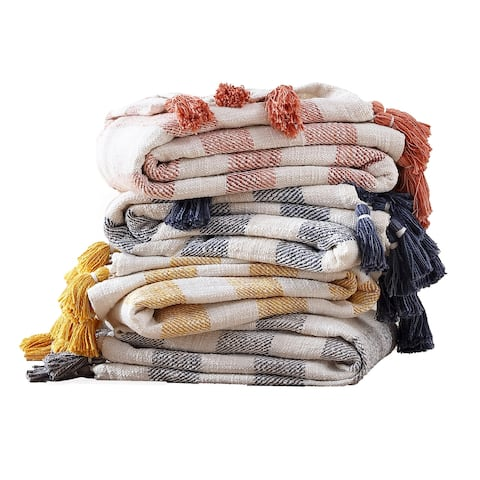 Brielle Home Lara Striped Cotton Throw Blanket