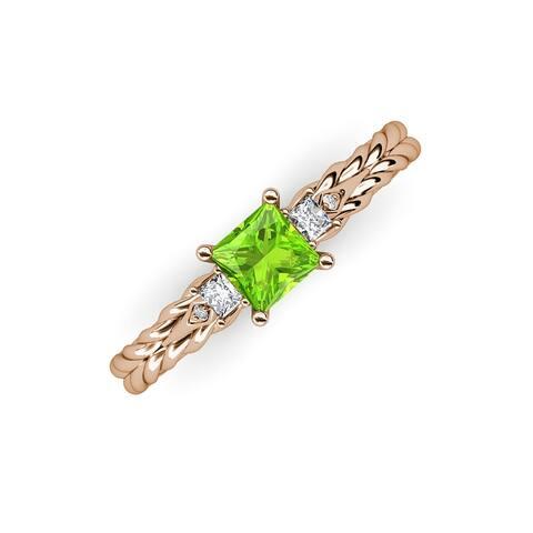 TriJewels Peridot Diamond Three Stone Engagement Ring 14K Gold