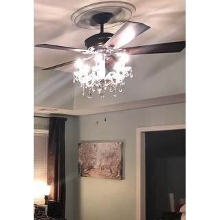 Shop Warehouse Of Tiffany Havorand 52 Inch 5 Blade Ceiling Fan With Crystal Chandelier Optional